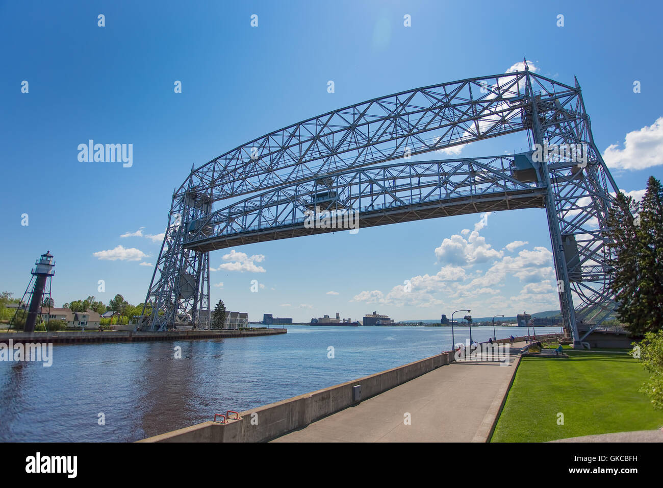 Duluth aerial lift bridge in the raised position over the canal ready for a ship to pass through - Stock Image