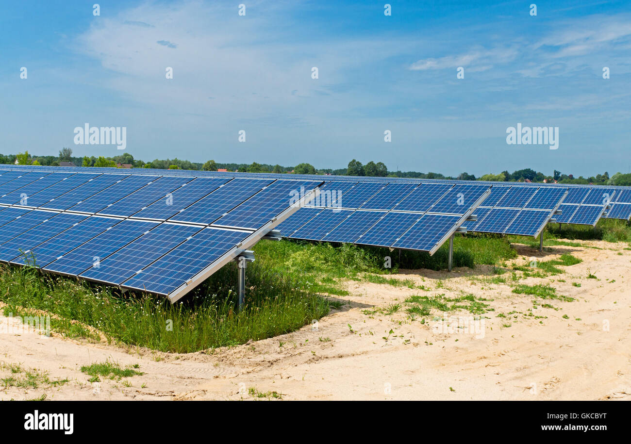 field with solar systems - Stock Image