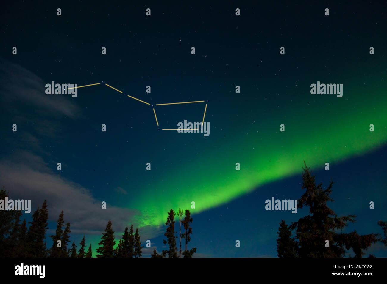 Big Dipper and northern lights display - Stock Image