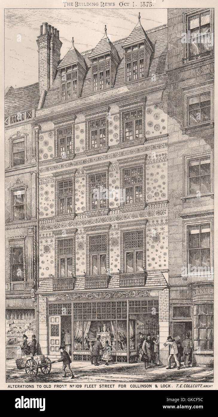 Alterations to 109, Fleet Street, for Collinson & Lock; T.E. Collcutt Archt 1875 - Stock Image