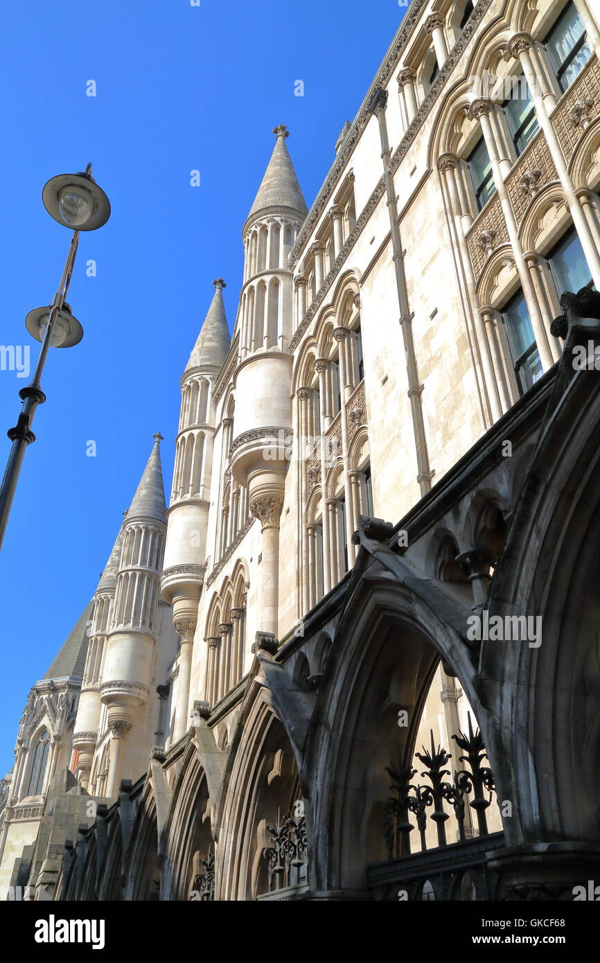The Royal Courts of justice, London, Great Britain, view of the external facade - Stock Image