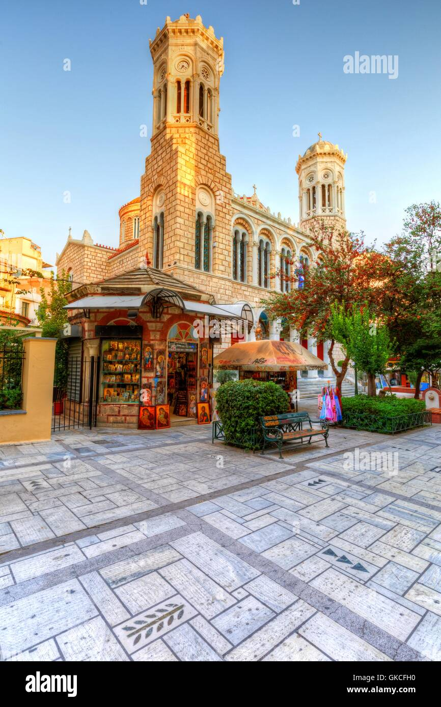 Church in the city center of Athens near Kotzia square. HDR image. - Stock Image