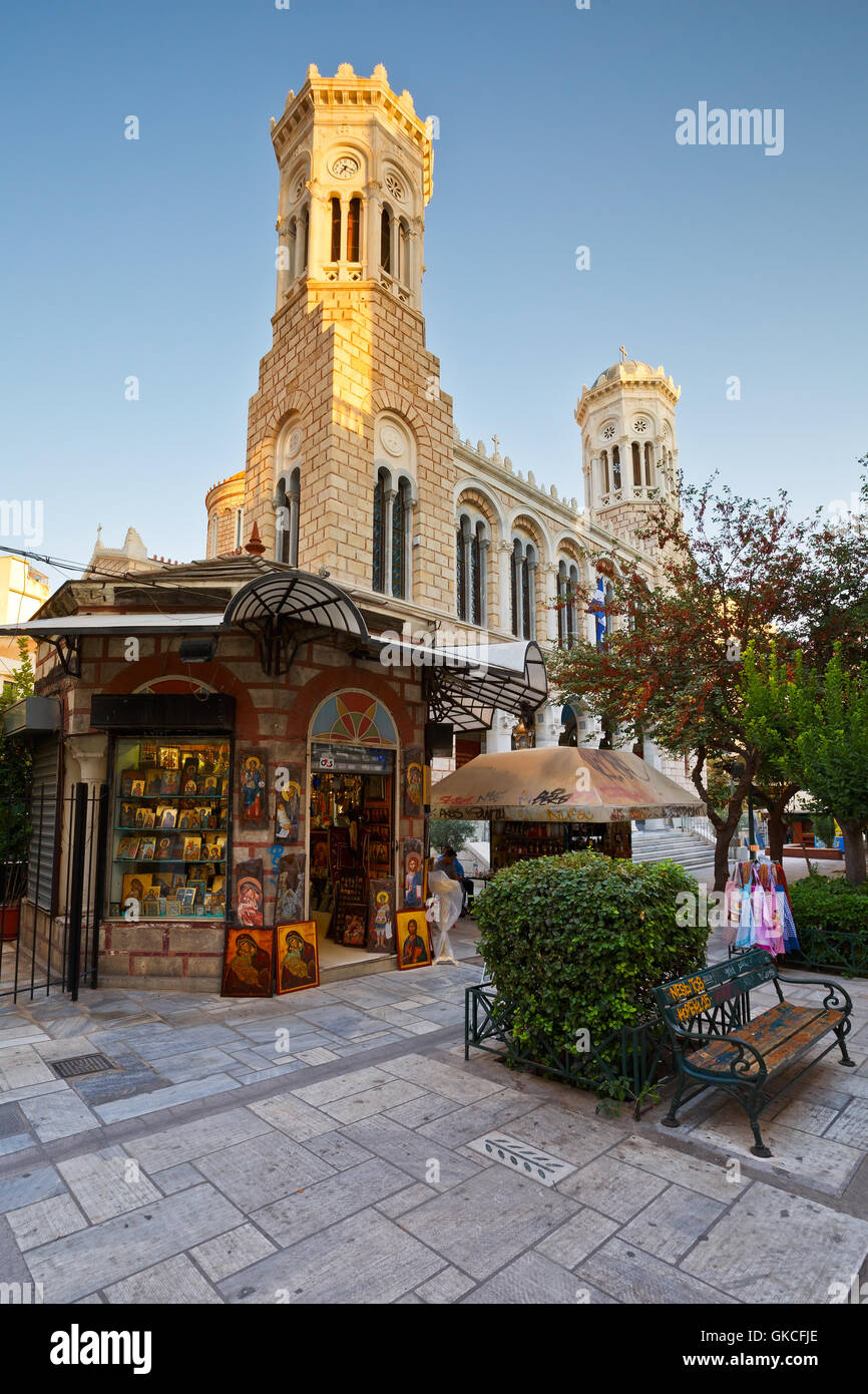 Church in the city center of Athens near Kotzia square. - Stock Image