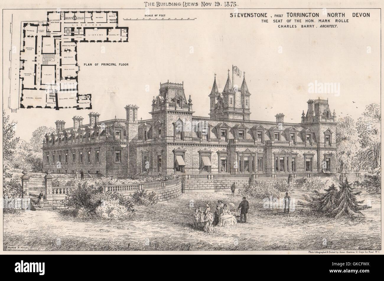 Stevenstone, near Torrington, Devon (Mark Rolle); Charles Barry, Architect, 1875 - Stock Image