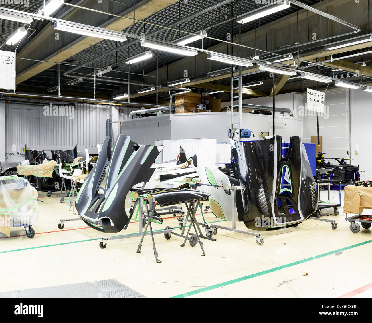 Car parts waiting to be painted. Koenigsegg Supercar Factory, Angelholm, Sweden. Architect: -, 2016. Stock Photo