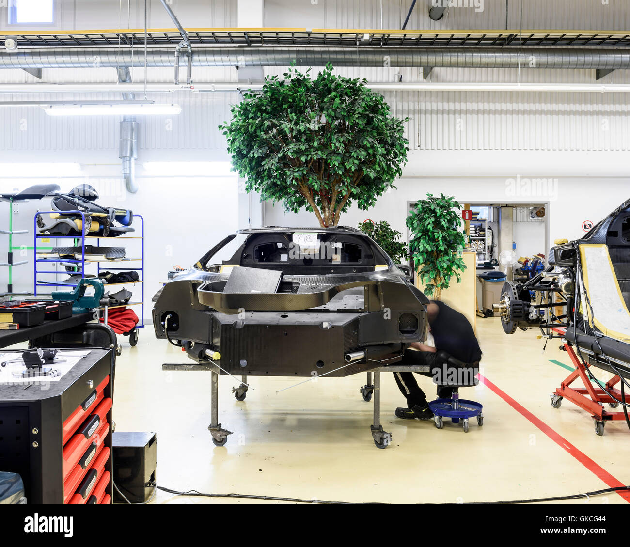 A car on the production line. Koenigsegg Supercar Factory, Angelholm, Sweden. Architect: -, 2016. Stock Photo