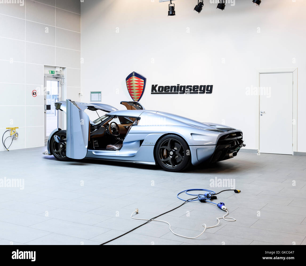 A Regera car ready to be tested. Koenigsegg Supercar Factory, Angelholm, Sweden. Architect: -, 2016. Stock Photo