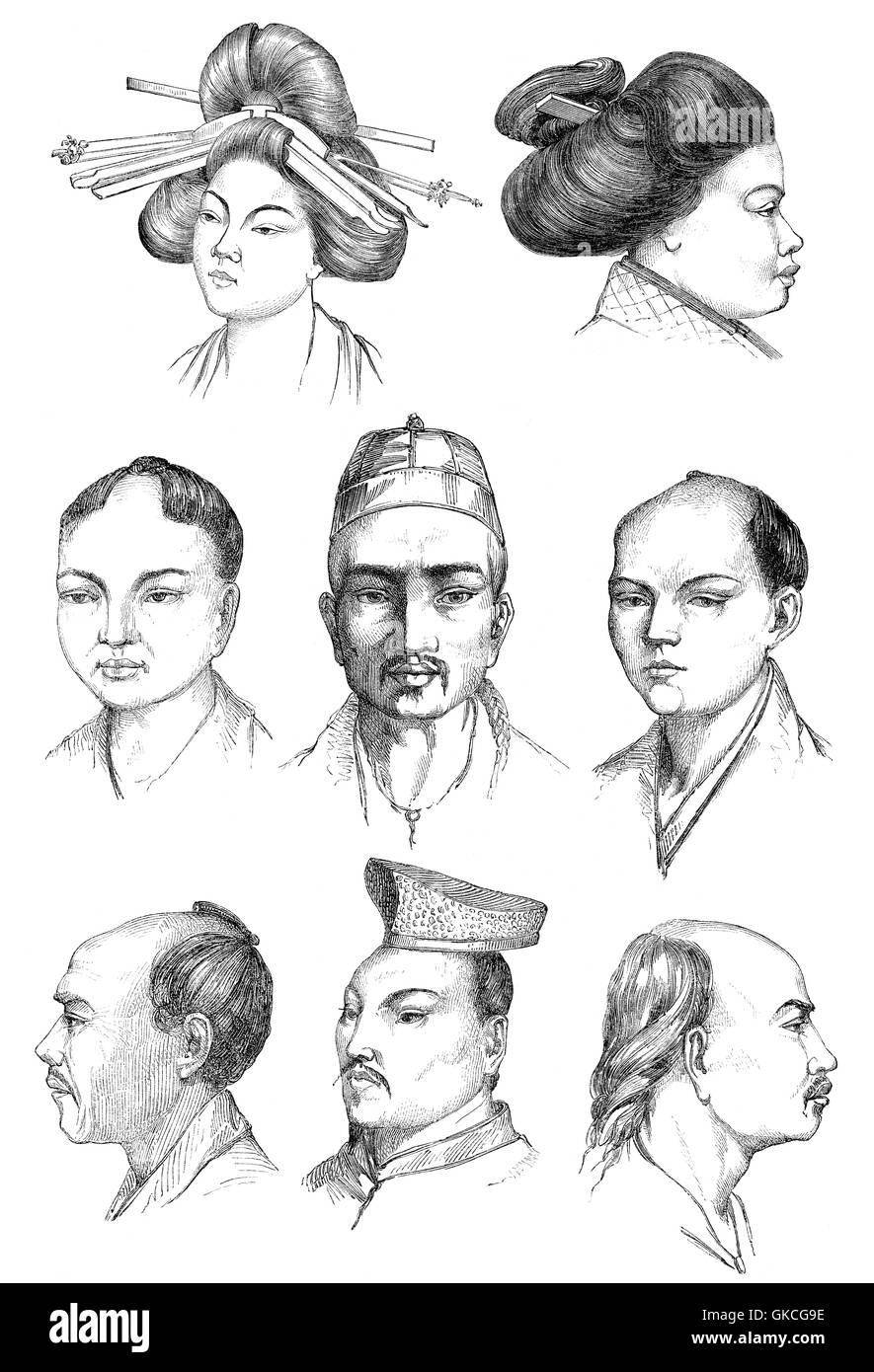 Japanese people, illustration, 19th century - Stock Image
