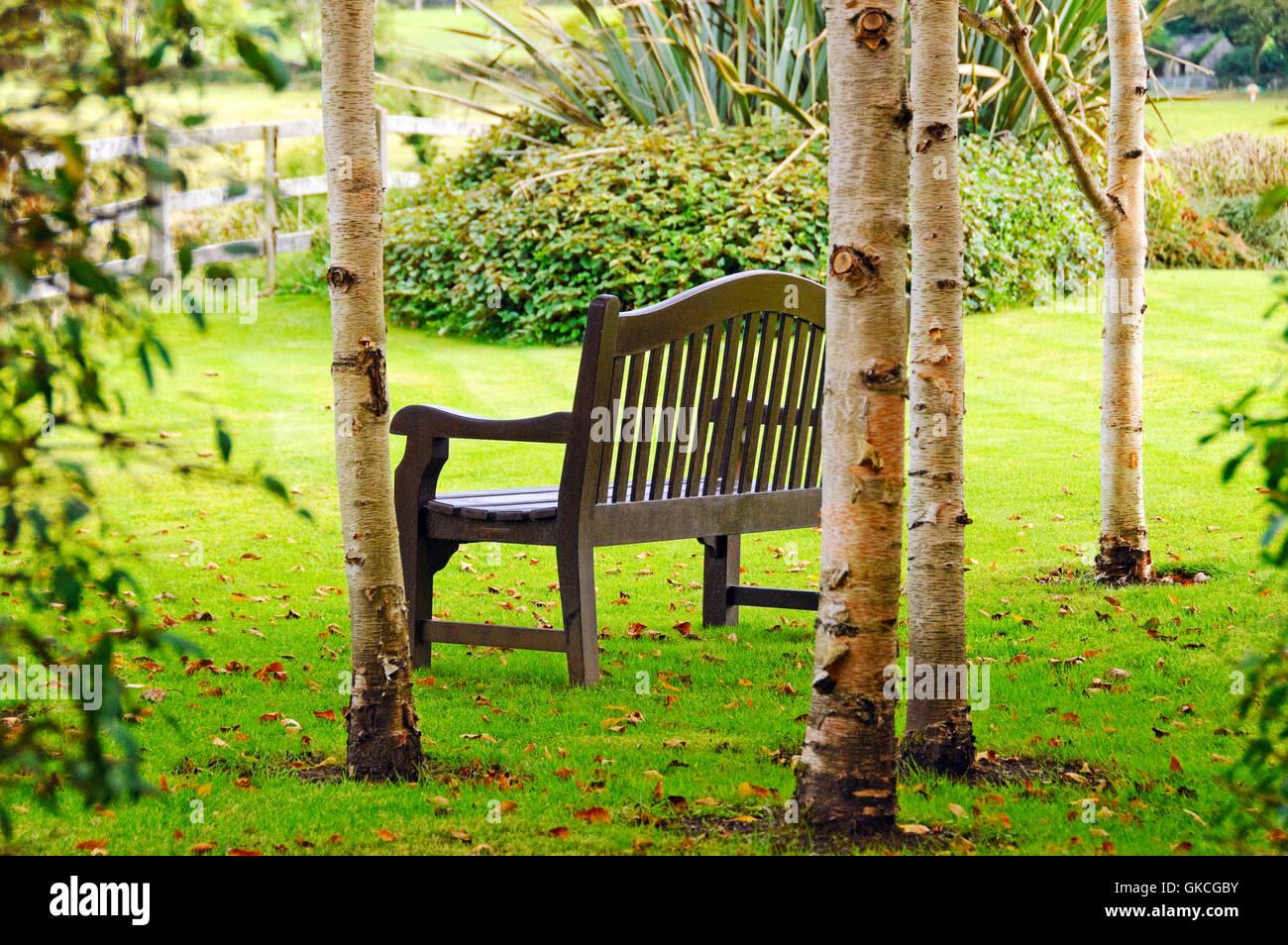 Bench in garden at Gregans Castle Hotel, Ballyvaughan, Ireland - Stock Image
