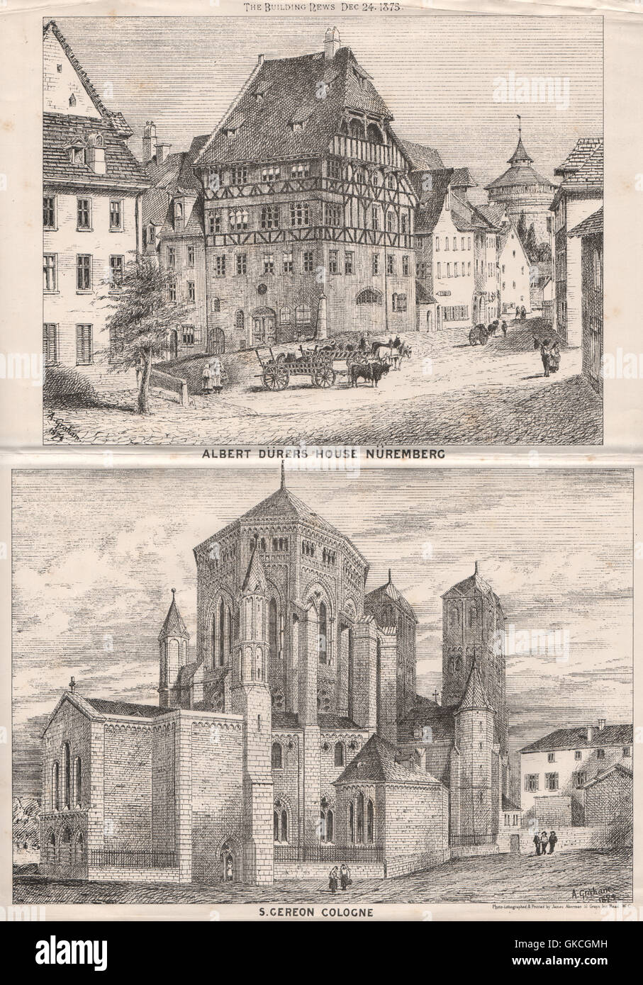Albert Dürer's House, Nüremberg; S. Gereon Cologne. Germany, old print 1875 - Stock Image