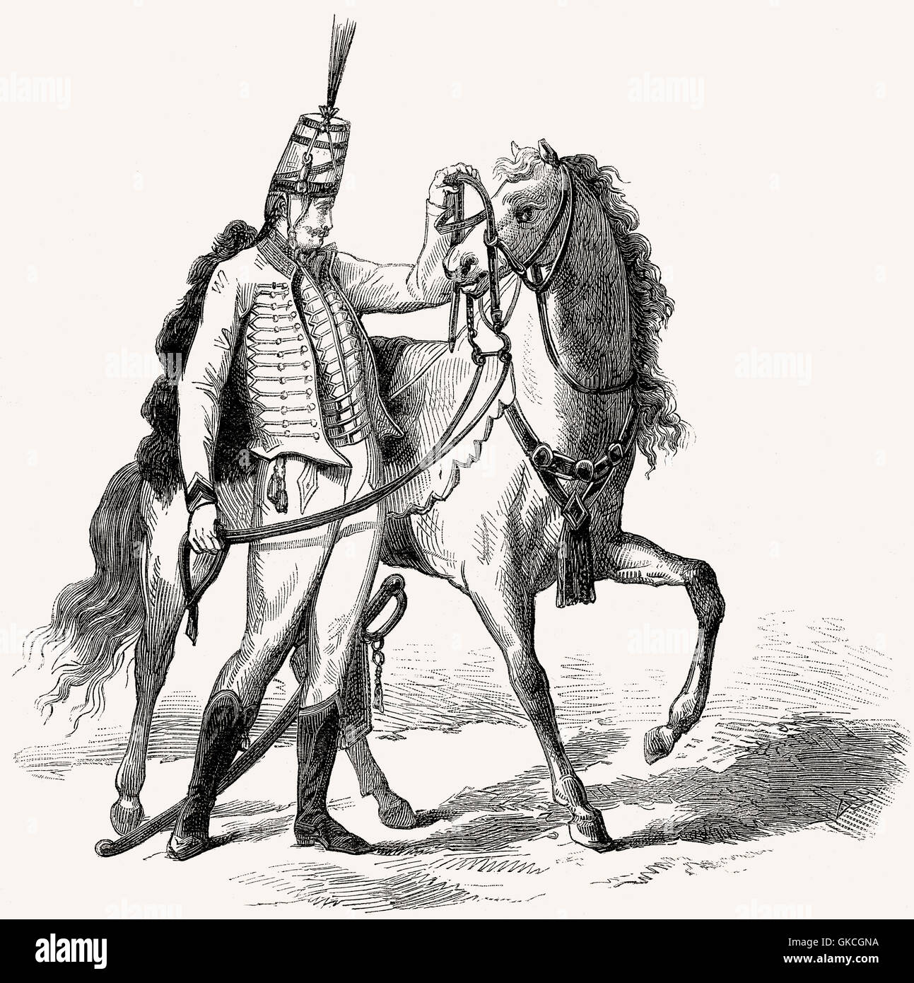 Hussar, illustration, 19th century - Stock Image