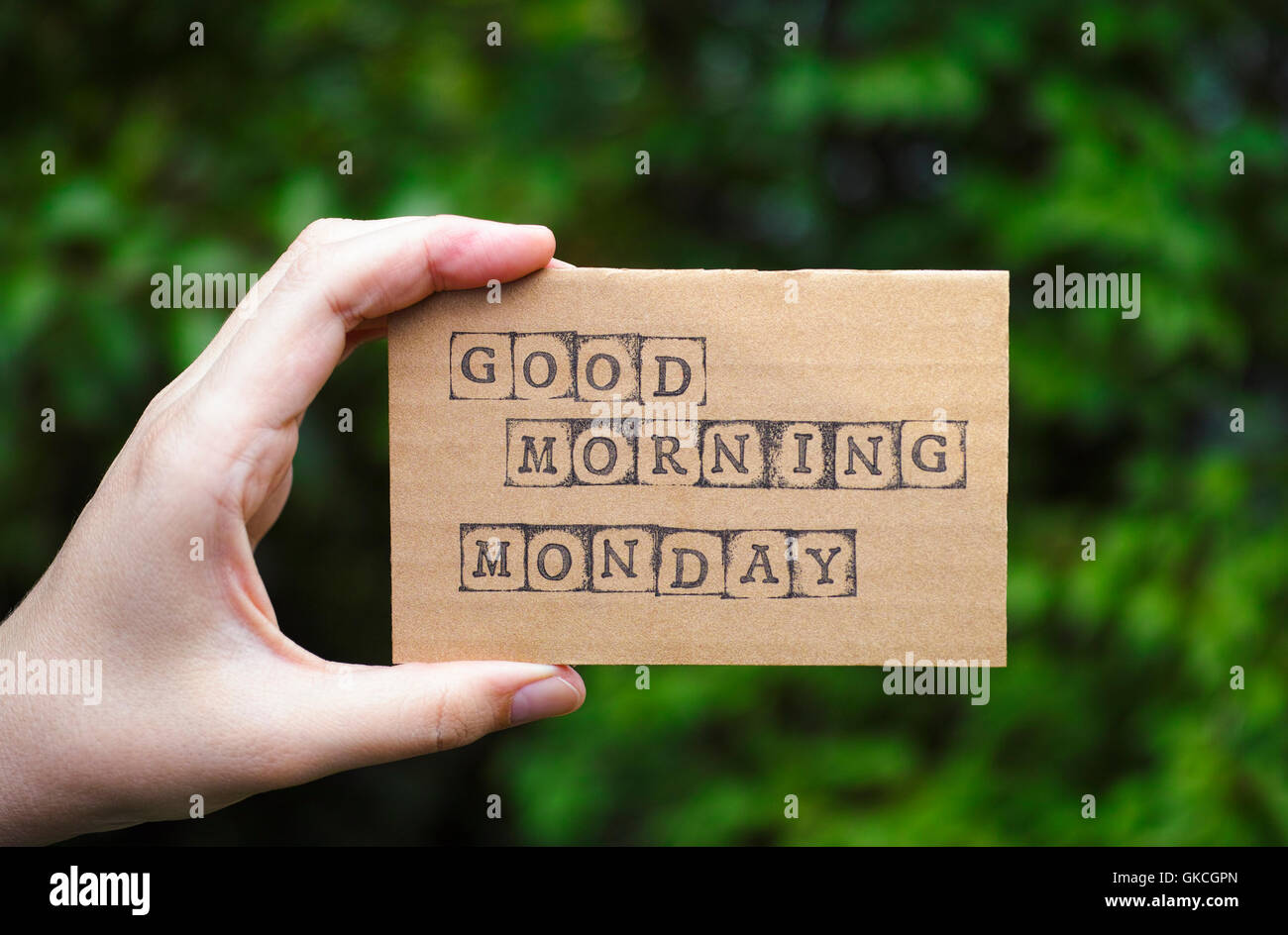 Woman Hand Holding Cardboard Card With Words Good Morning Monday