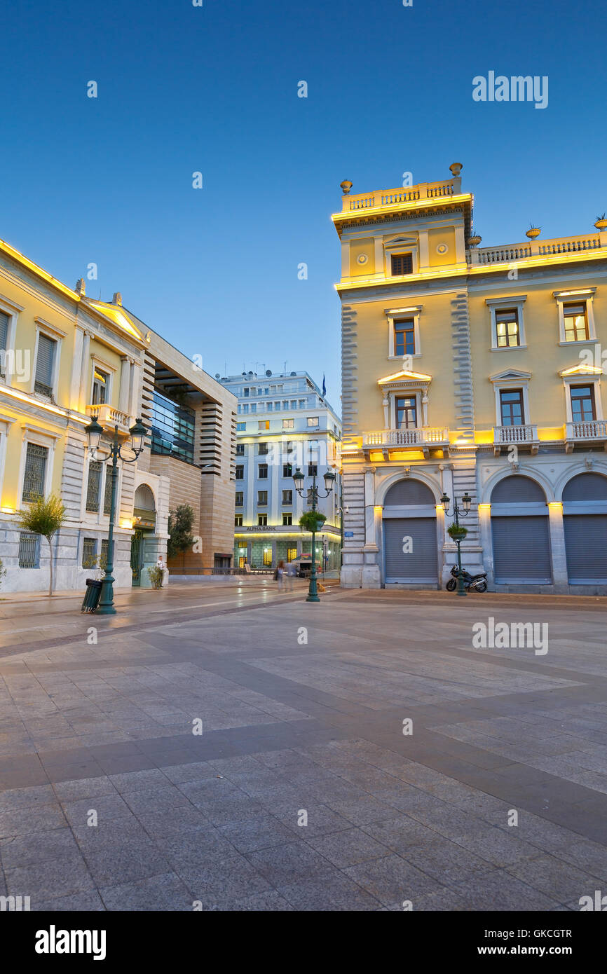 Buildings of the National Bank of Greece in Kotzia square, Athens. - Stock Image