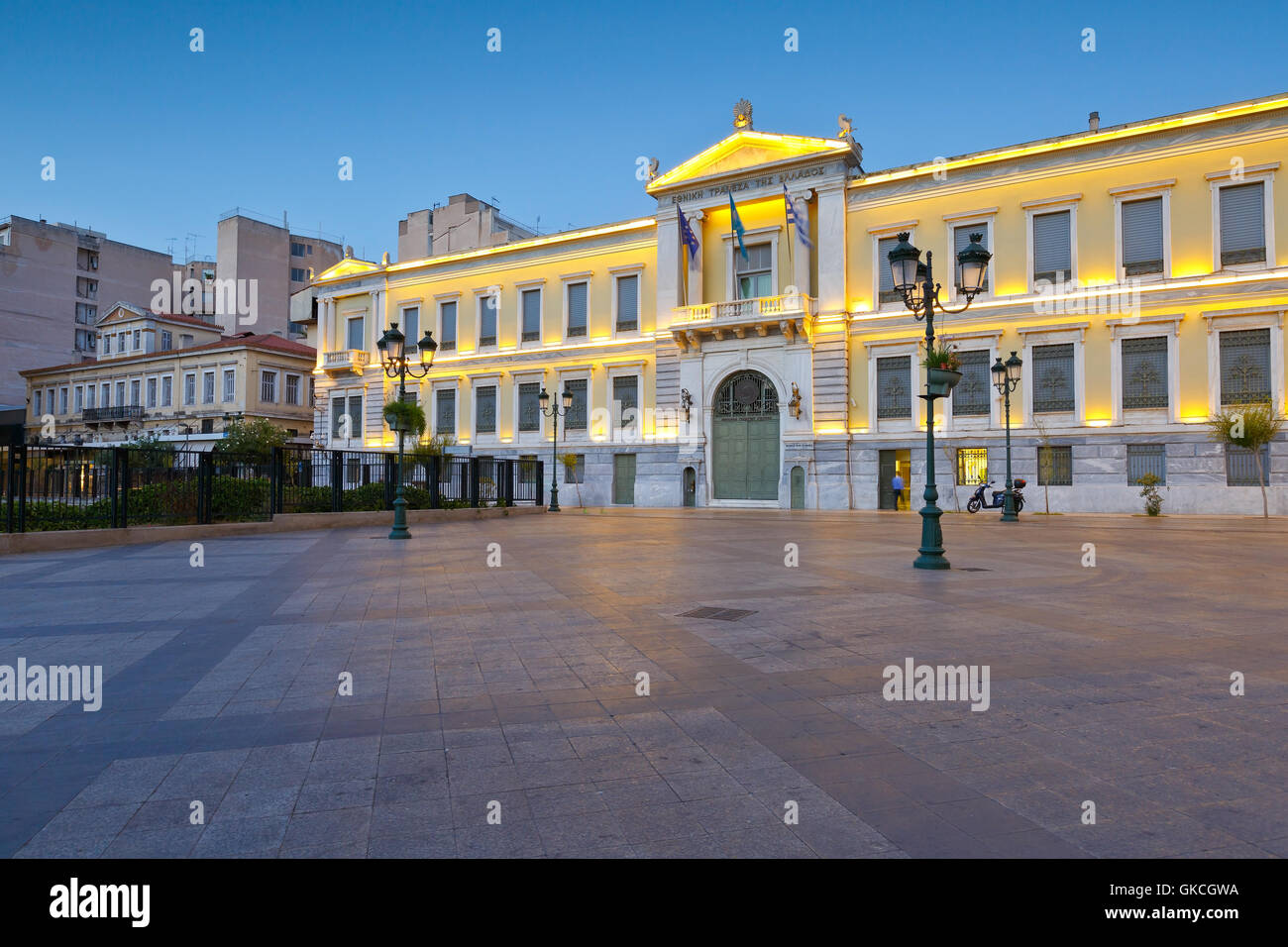 Building of the National Bank of Greece in Kotzia square, Athens. - Stock Image