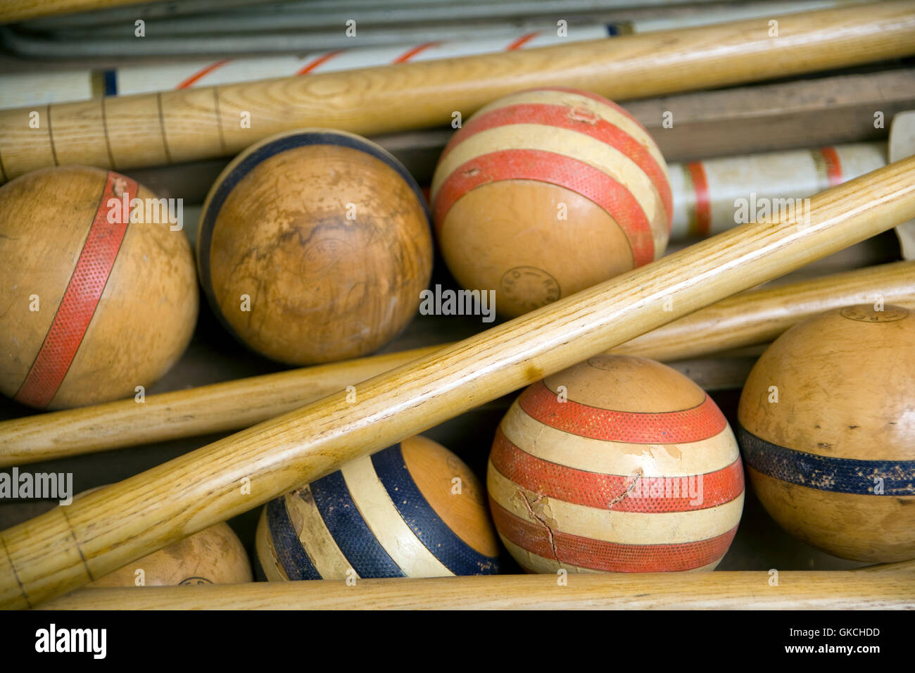 Old Wooden Croquet Game Set In A Box Stock Photo 115217801 Alamy