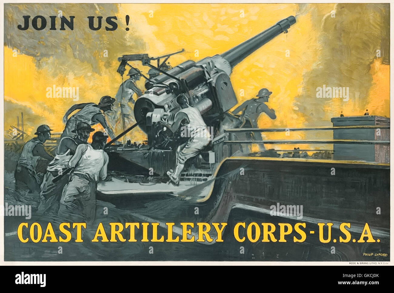 """""""JOIN US! COAST ARTILLERY CORPS USA"""" 1914-18 World War I recruitment poster for the US Army Coast Artillery Corps - Stock Image"""