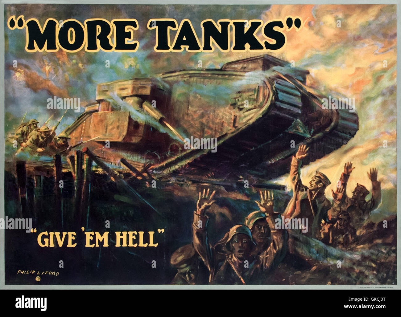 more tanks give em hell 1918 world war i motivational poster for the manufacture of tanks for the newly formed united states tank corps