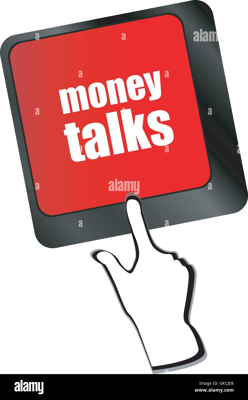 money talks on computer keyboard key button vector - Stock Vector