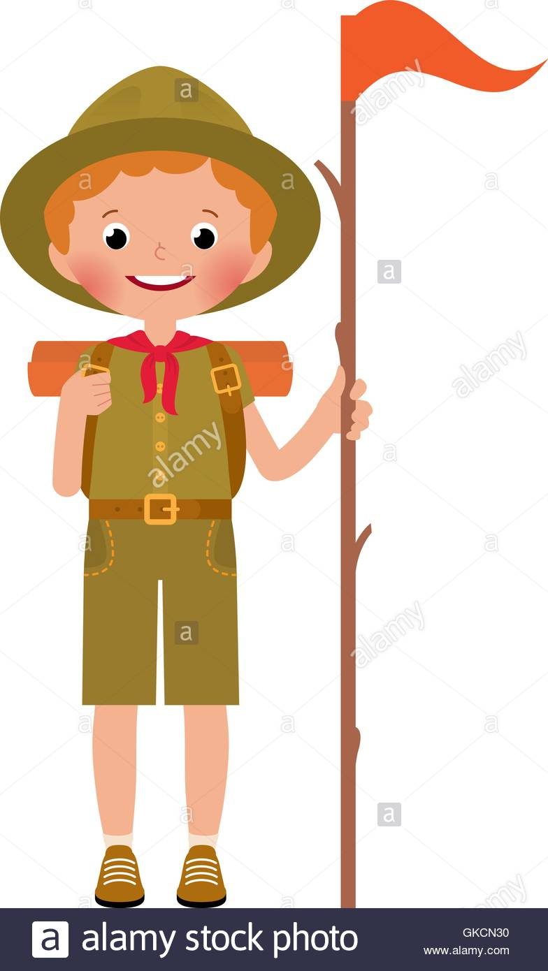 Vector illustration of a smiling child boy scout - Stock Vector