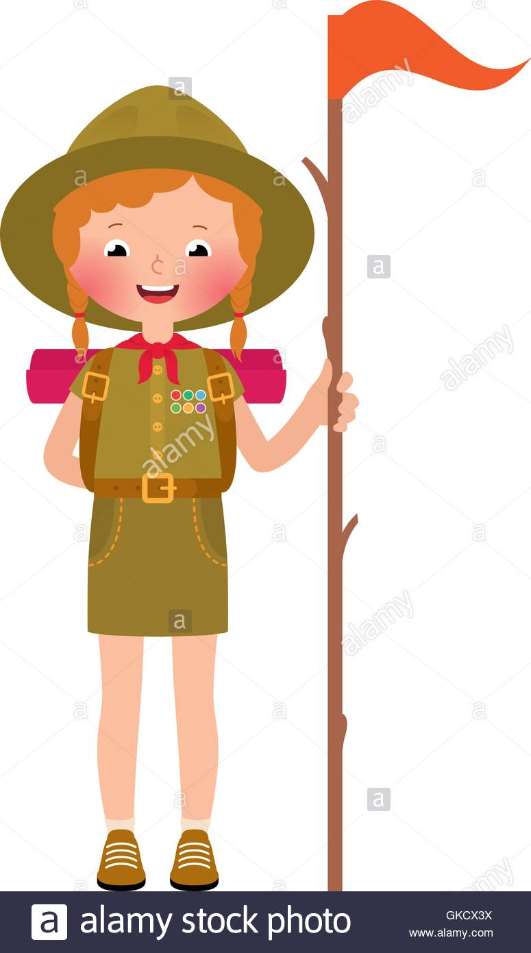 Vector illustration of a smiling child girl scout - Stock Vector
