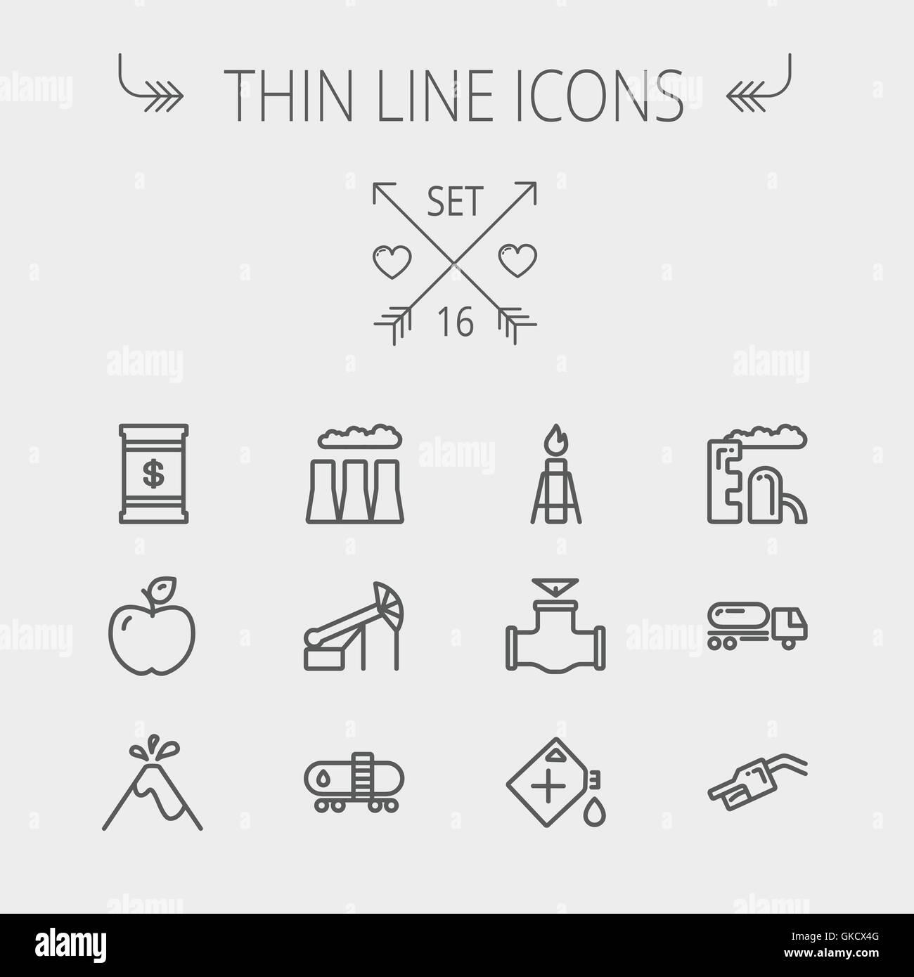 Ecology thin line icon - Stock Image