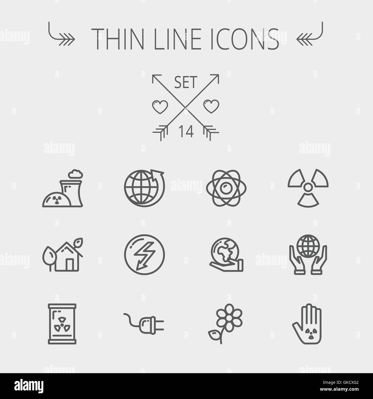Ecology thin line icons - Stock Image