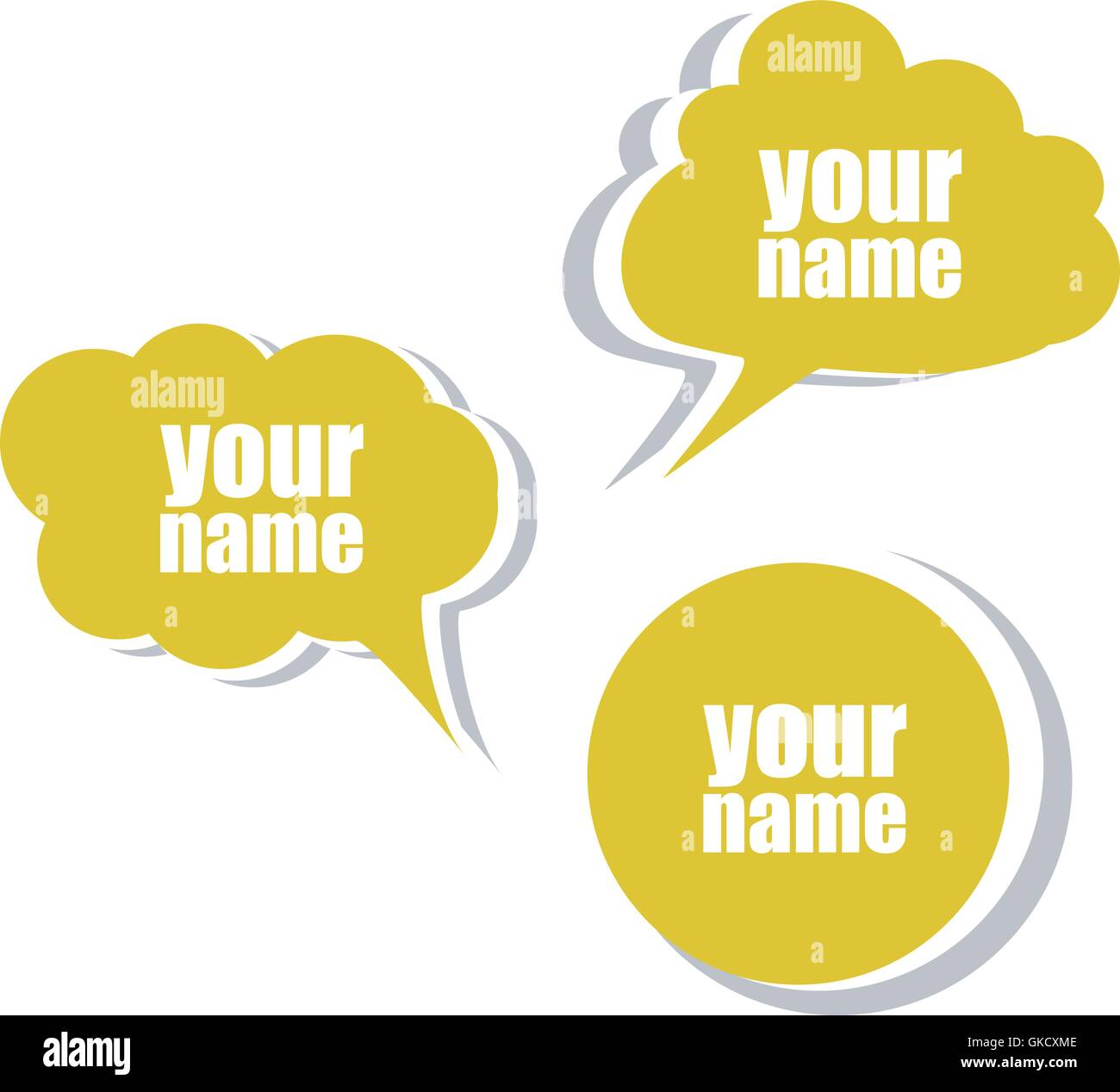 Your name set of stickers labels tags business banners vector