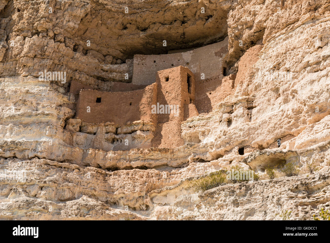 Closeup view of the Native American cliff dwellings in Montezuma Castle National Monument, Arizona - Stock Image