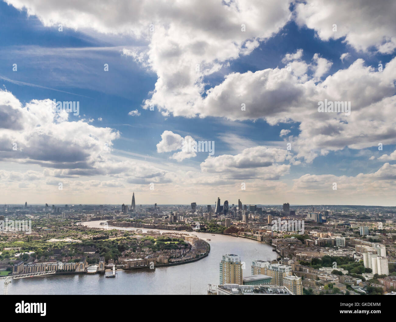 Skyline of London's traditional financial district City of London with the river Thames in the foreground. - Stock Image
