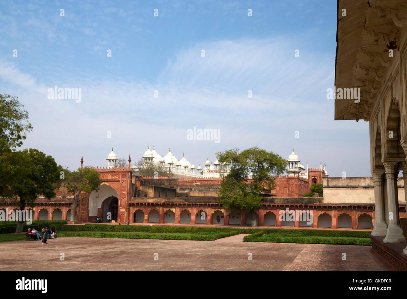 Moti Masjid or the Pearl Mosque,from Diwan-i-Am, Hall of Public Audiences Red Fort Agra UNESCO World Heritage Site - Stock Image