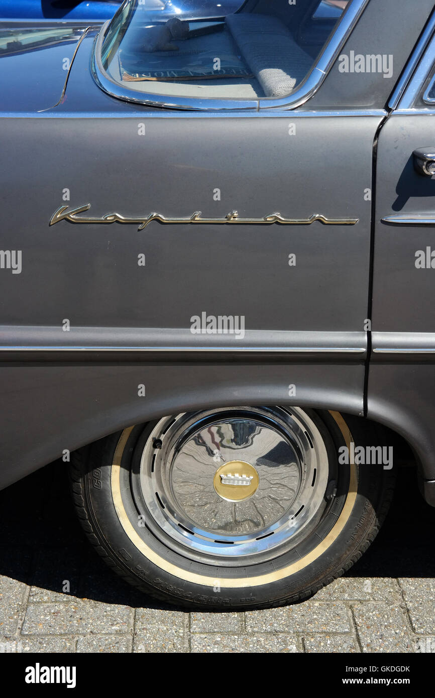 Detail of an Opel Kapitän P 2,6 classic car from 1950s - Stock Image