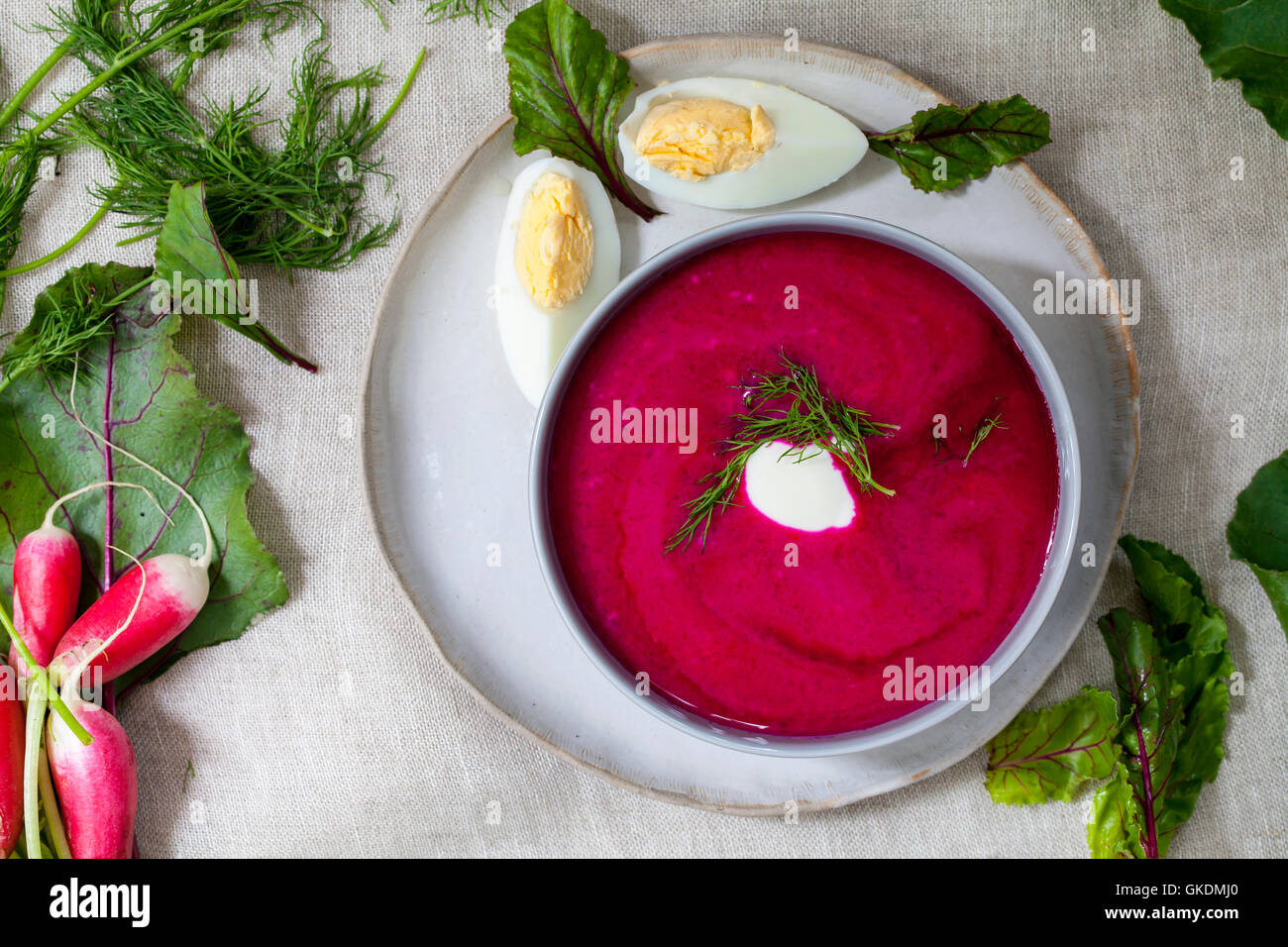 Traditional polish beetroot soup - Stock Image