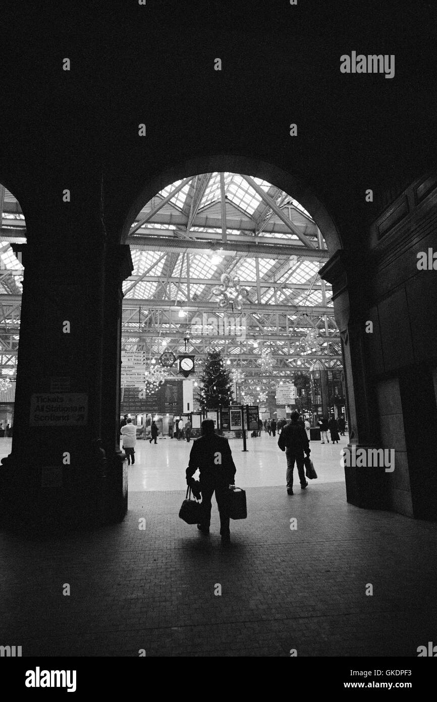 Entrance to Central Station Glasgow, 1992 - Stock Image