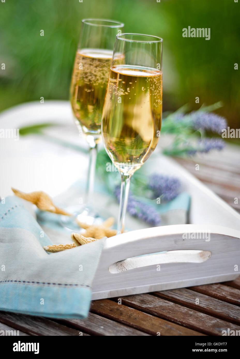 summery champagne breakfast - Stock Image