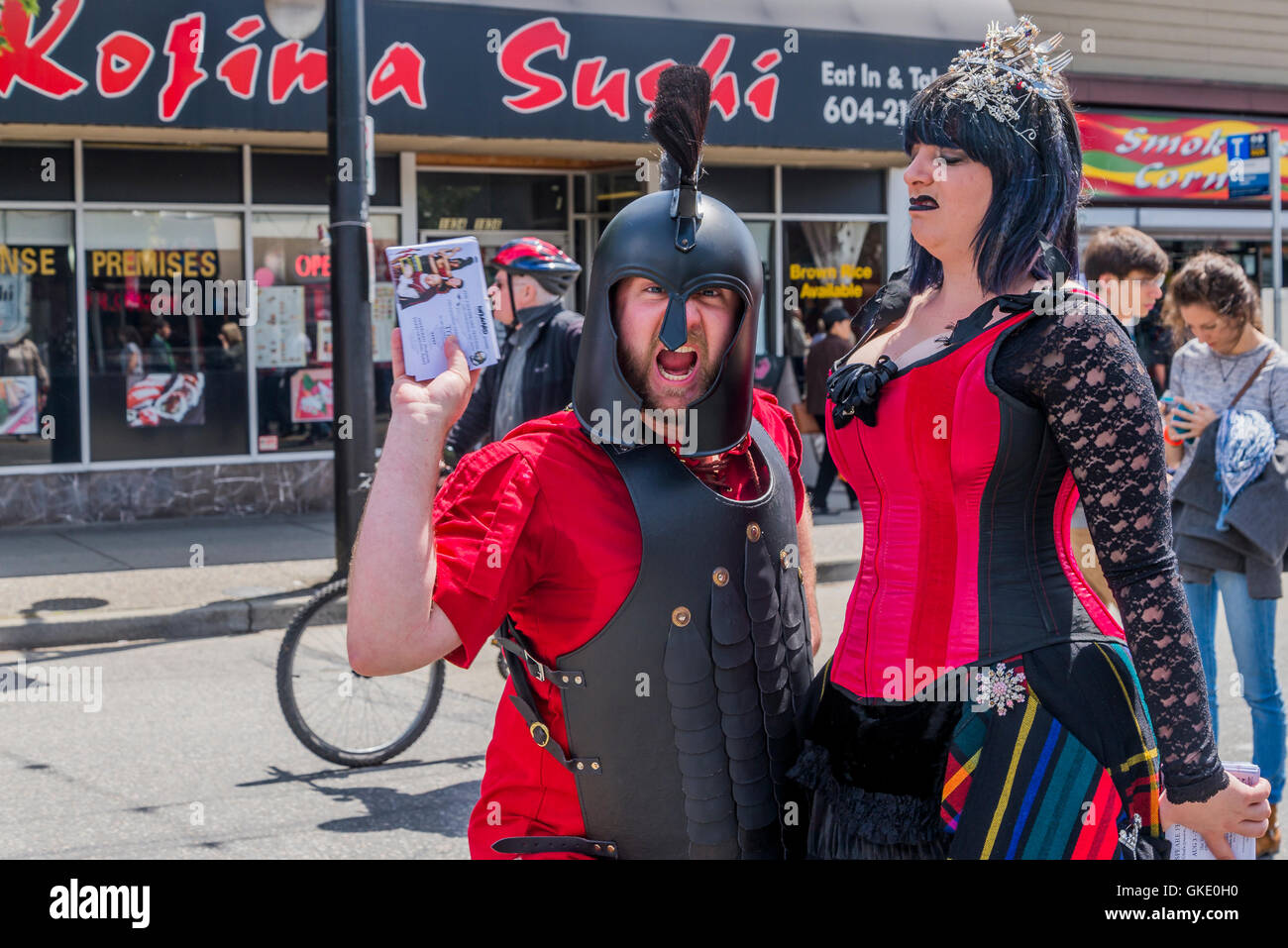 Costumed characters, Italian Day, Commercial Drive, Vancouver, British Columbia, Canada - Stock Image