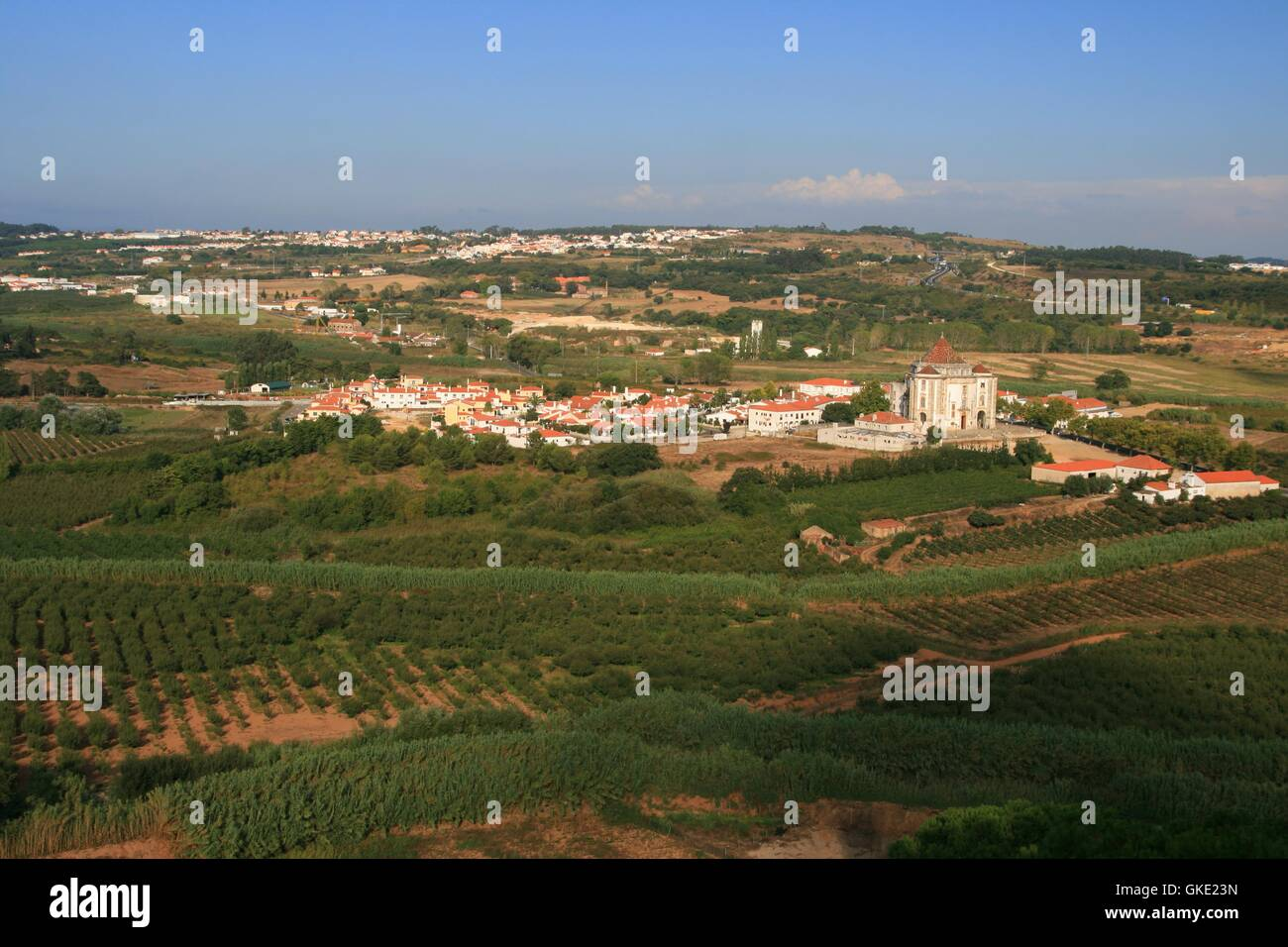 view on village in mountains - Stock Image