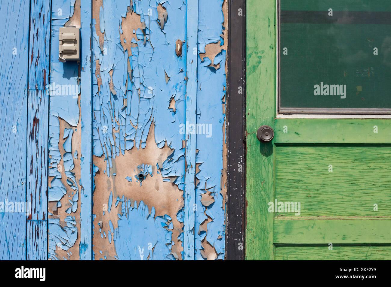 Entrance of abandoned house - Stock Image