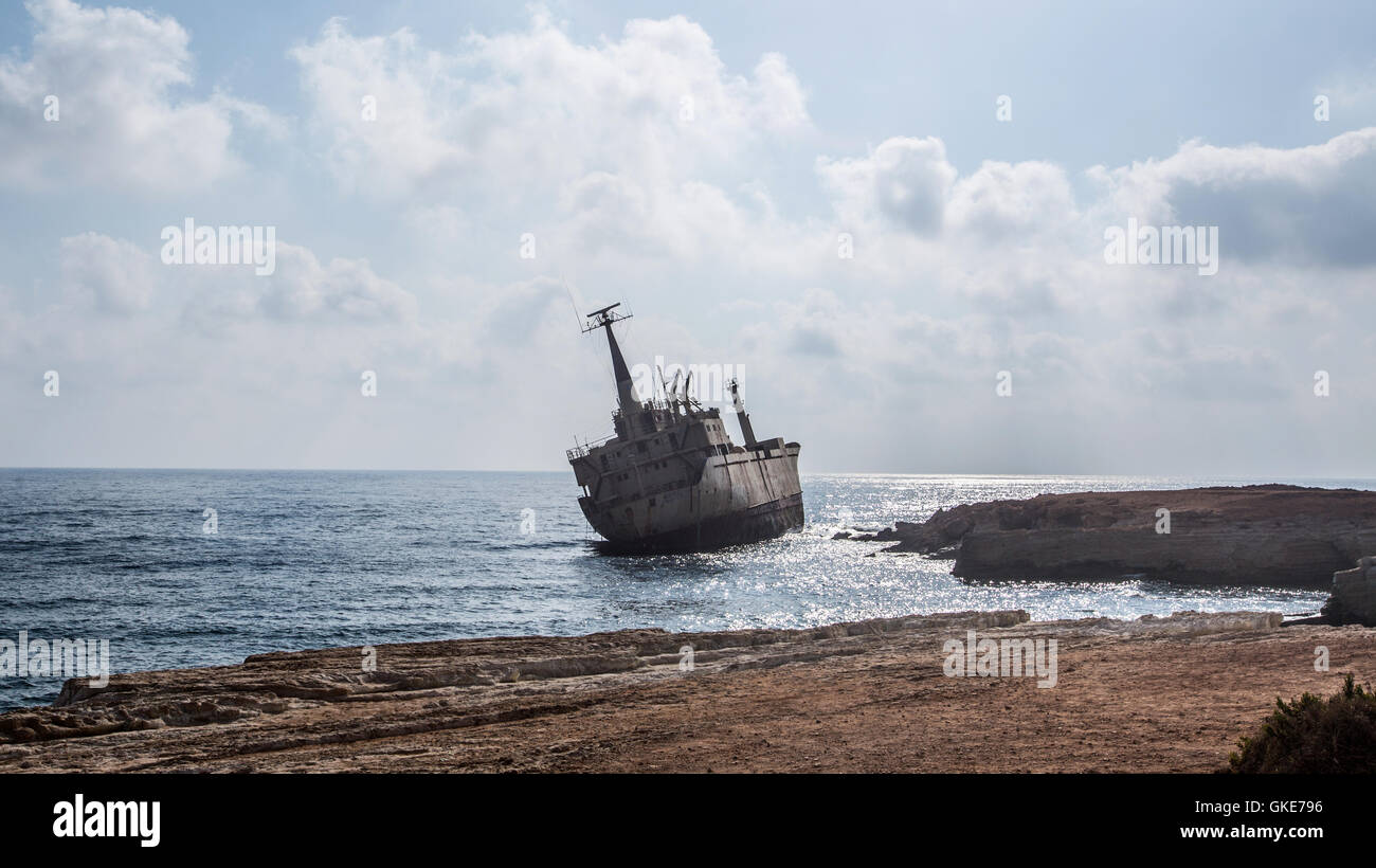 The shipwrecked boat The Edro III pictures off the coast of Paphos, Cyprus. Stock Photo