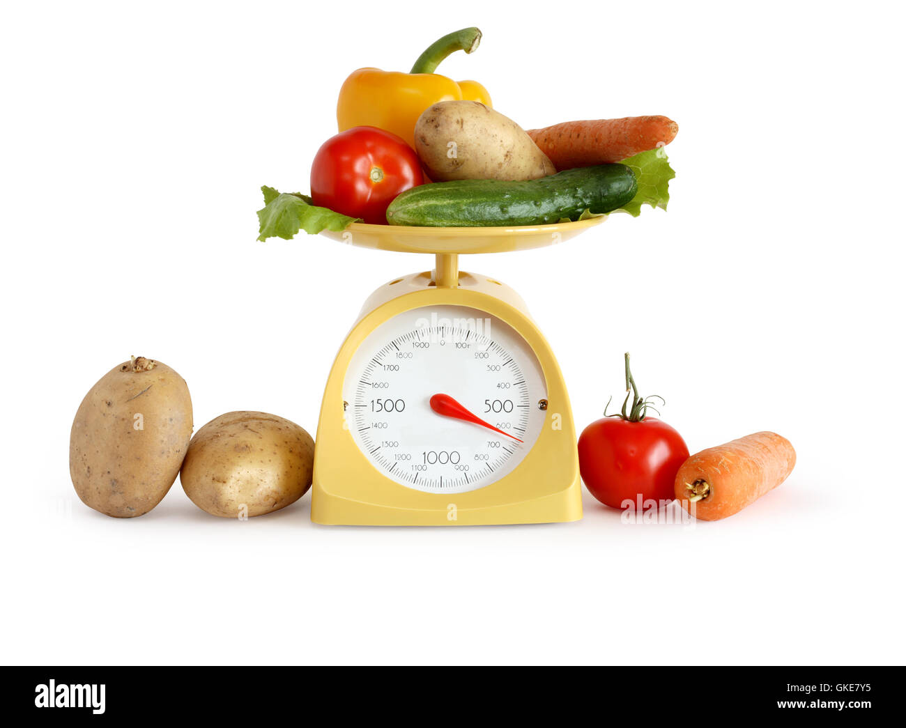 Vegetables On Weight Scale - Stock Image