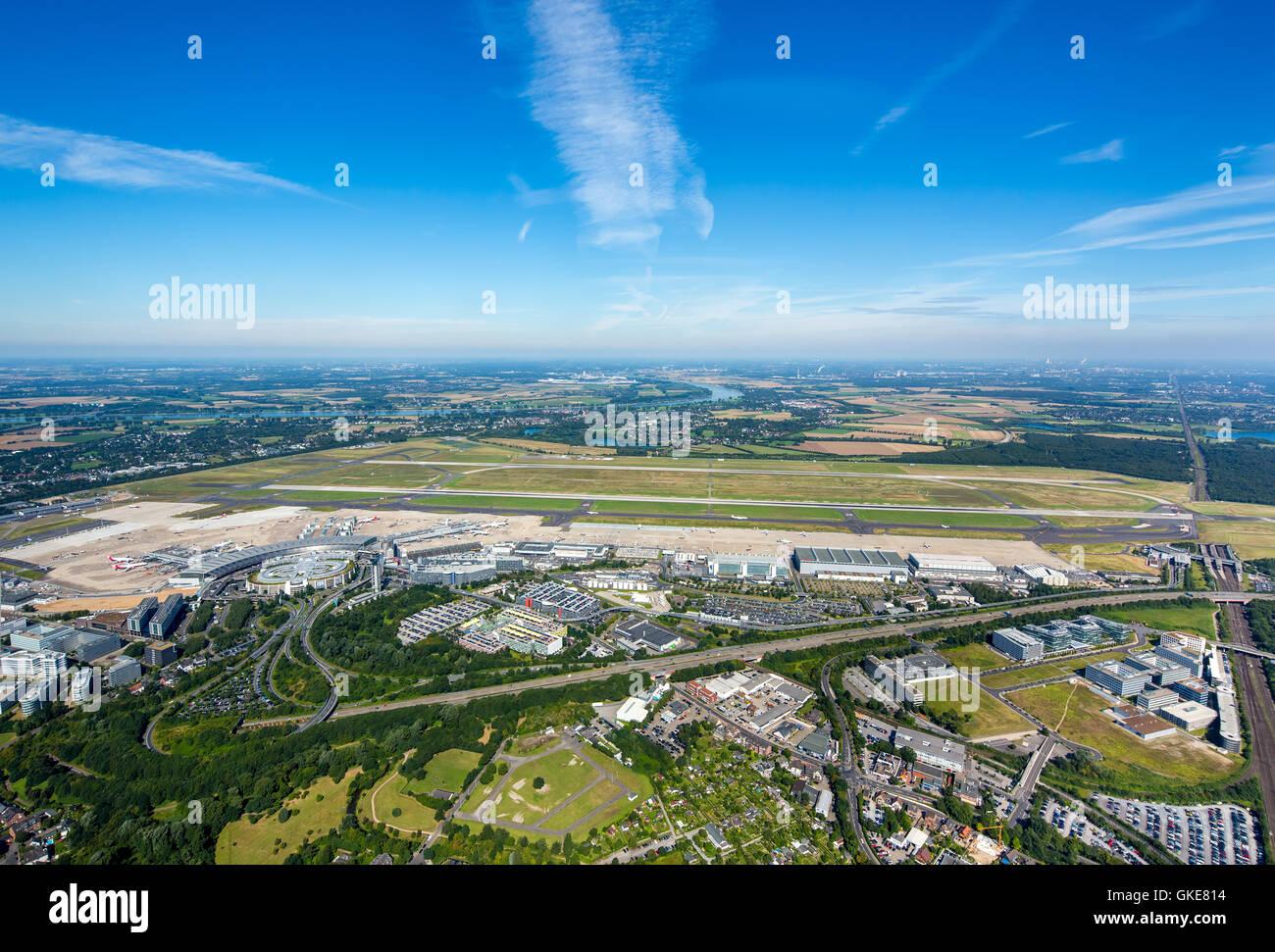 Aerial view, Dusseldorf Airport, EDDL, runways, flight handling, passenger fingers, jets, Sheraton Dusseldorf Airport - Stock Image