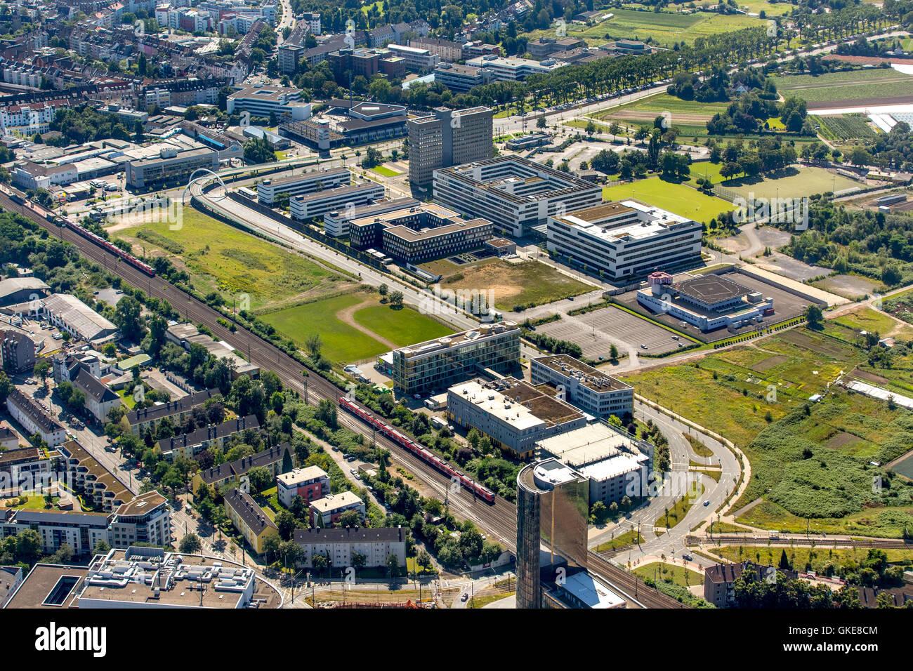 Aerial view, State Criminal Office North Rhine-Westphalia with helipad, Dusseldorf, Rhine country, north rhine-westphalia, - Stock Image