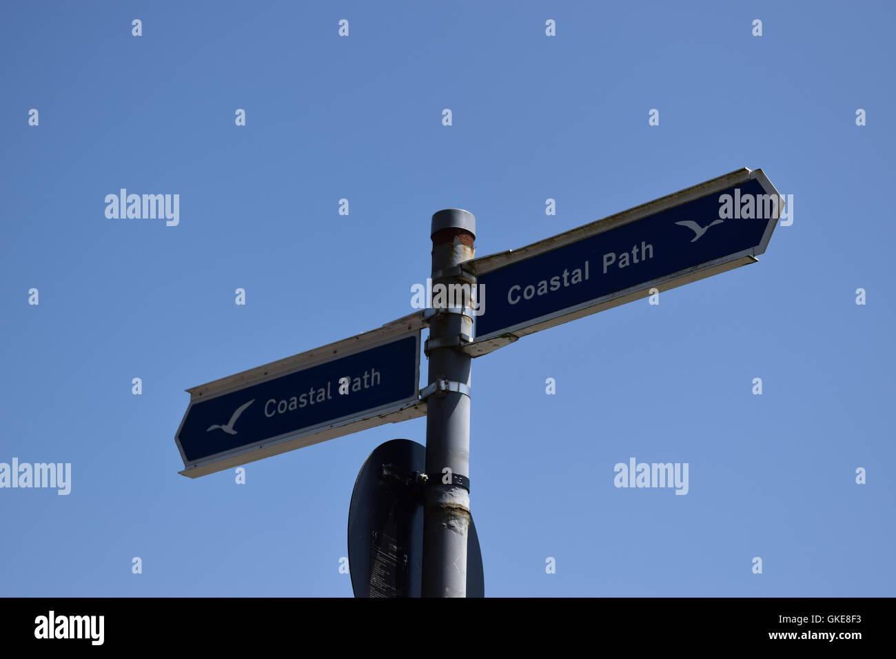 Blue Coastal Path Signs Direct - Stock Image