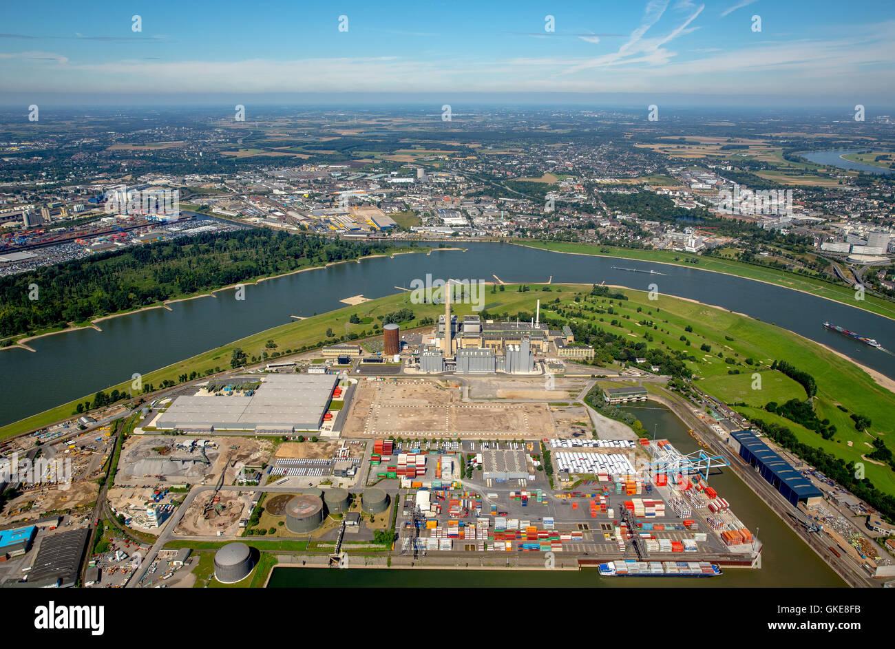Aerial view, powerplant Kraftwerk Lausward at the Rhine river, Dusseldorf, Rhine country, north rhine-westphalia, - Stock Image