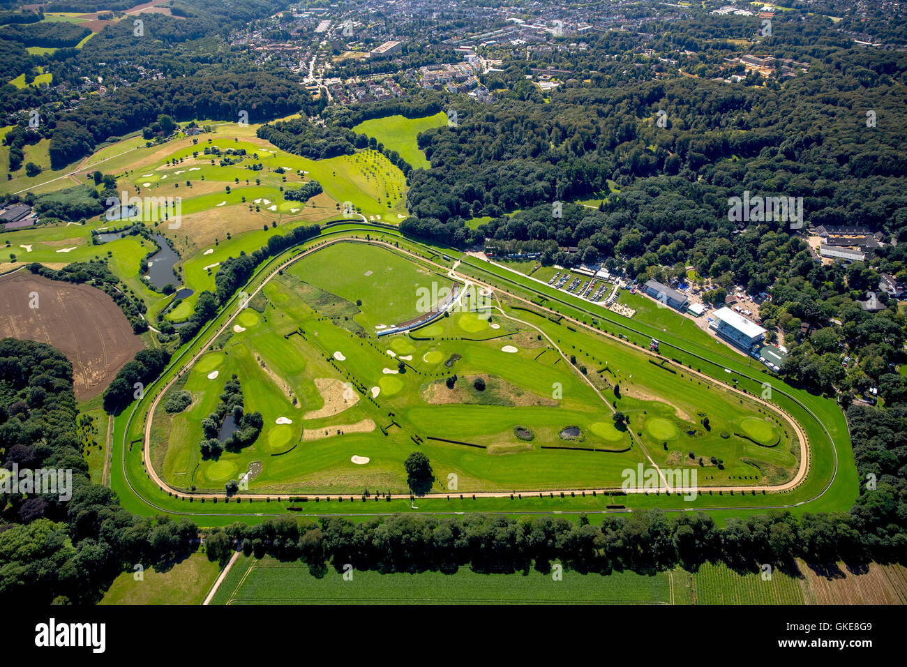 Aerial view, golf Dusseldorf-Grafenberg and gallop racecourse Grafenberg, Dusseldorf, Rhineland, north rhine-westphalia, - Stock Image