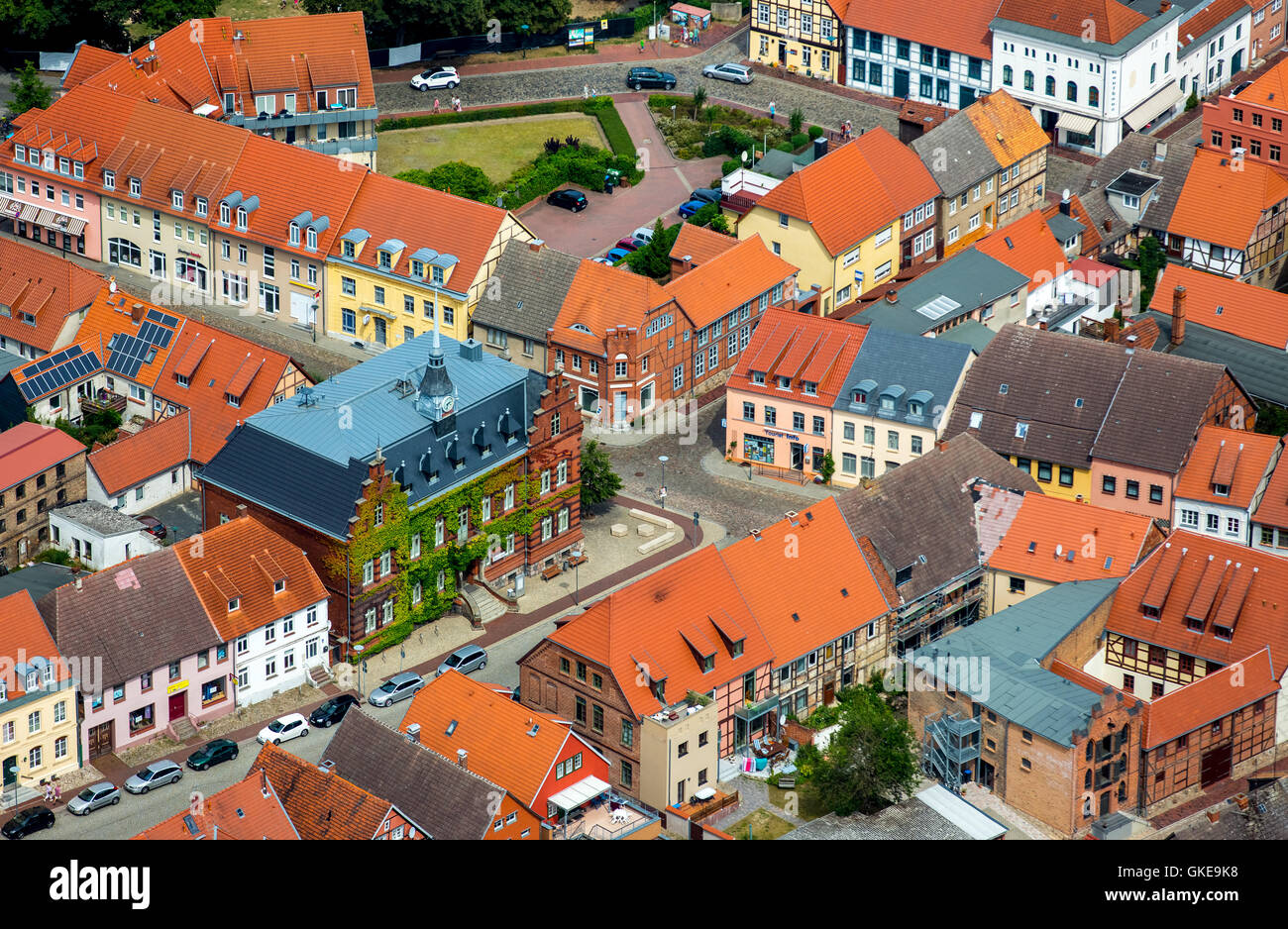 Aerial view, Official Plau, Town Hall, Plau, Mecklenburg Lake District, Mecklenburgian Switzerland, Mecklenburg - Stock Image