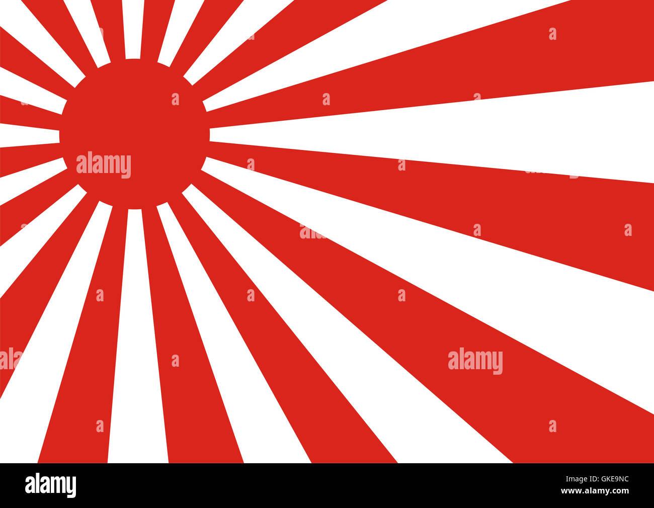 rising sun flag - Stock Image