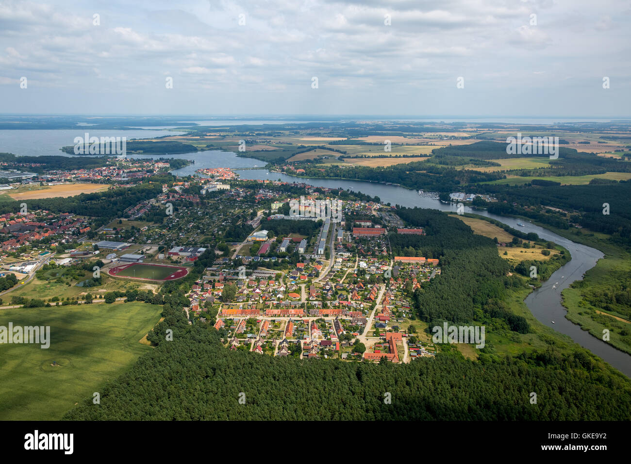 Aerial view, overview of south to Malchow with stretching, Malchow, Mecklenburg Lake District, Mecklenburgian Switzerland, - Stock Image