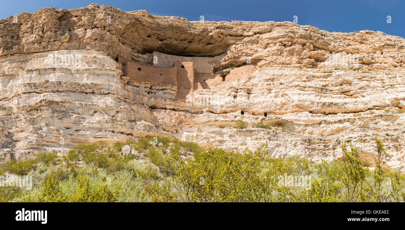 Panoramic view of the Native American cliff dwellings in Montezuma Castle National Monument, Arizona - Stock Image