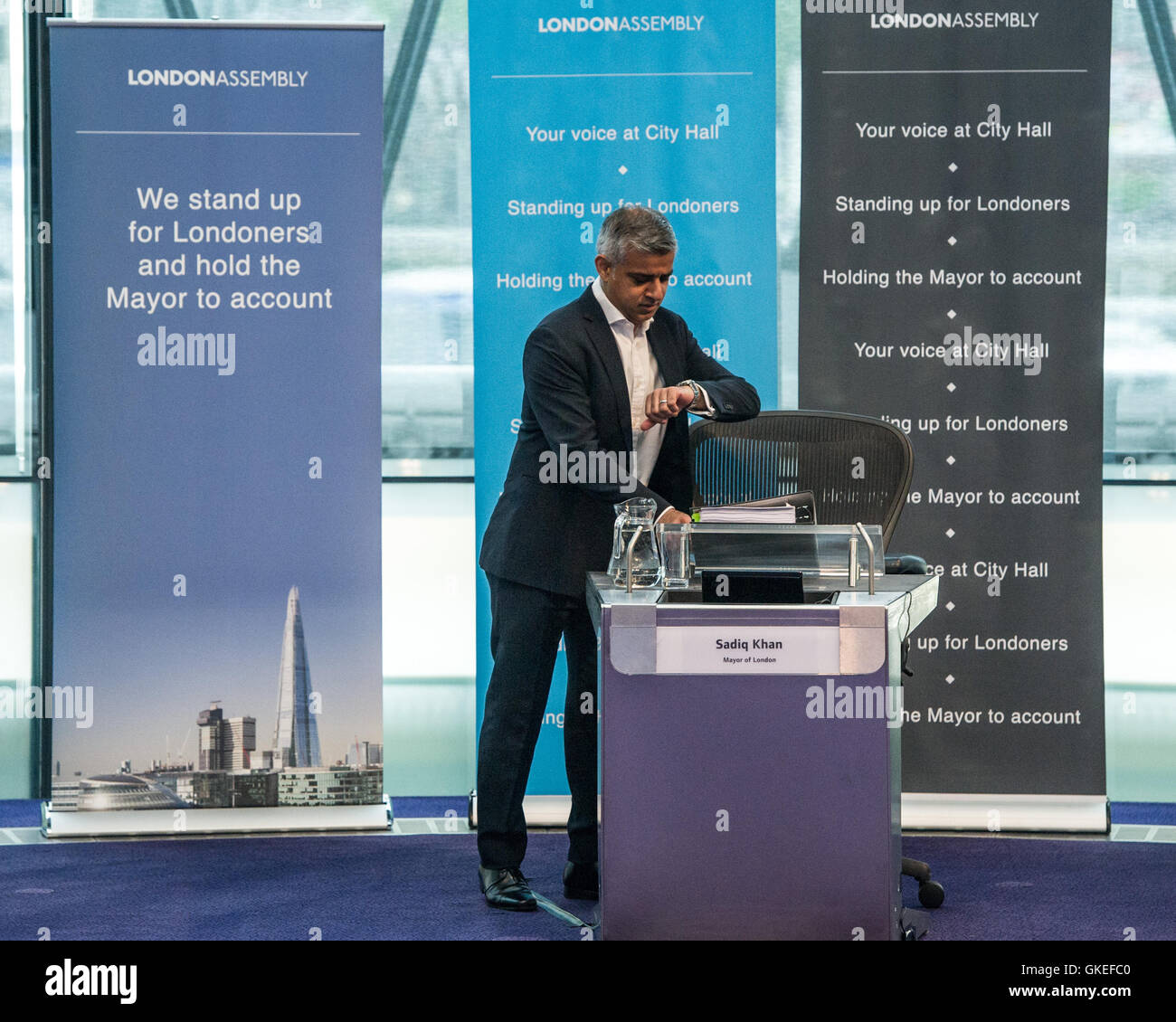 Sadiq Khan, Mayor of London takes questions from Assembly Members on his first session of Mayor's Questions at City - Stock Image