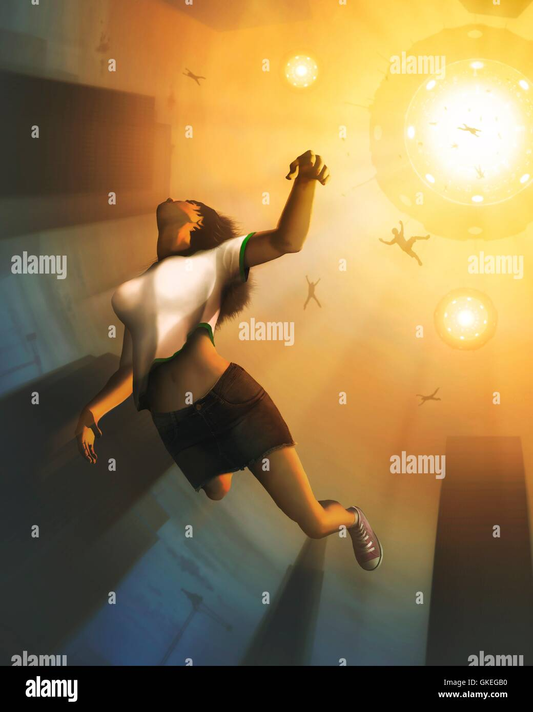 Alien abduction. Computer artwork of a humans being abducted by aliens in a flying saucer. Alongside the increased - Stock Image